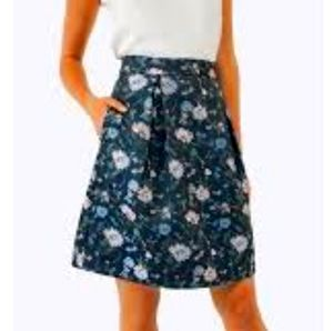 Floral jacquard flare skirt w pockets